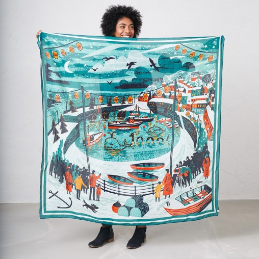 Mousehole scarf print by Matt Johnson for Seasalt Cornwall