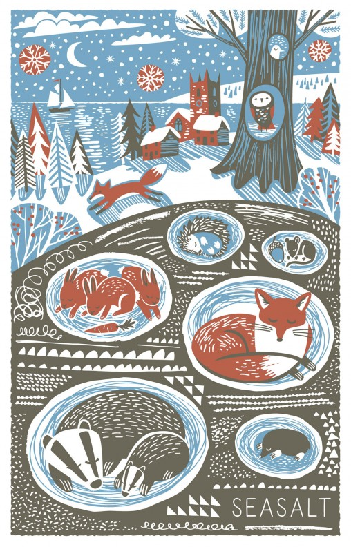 Winter burrows christmas tea towel print by Matt Johnson for Seasalt Cornwall