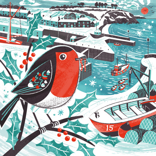 Charlestown Robin Christmas card by Matt Johnson for Seasalt Cornwall