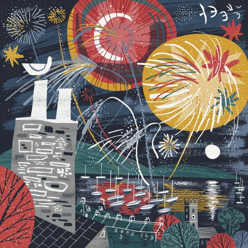 Falmouth Fireworks illustration by Matt Johnson for Seasalt Cornwall
