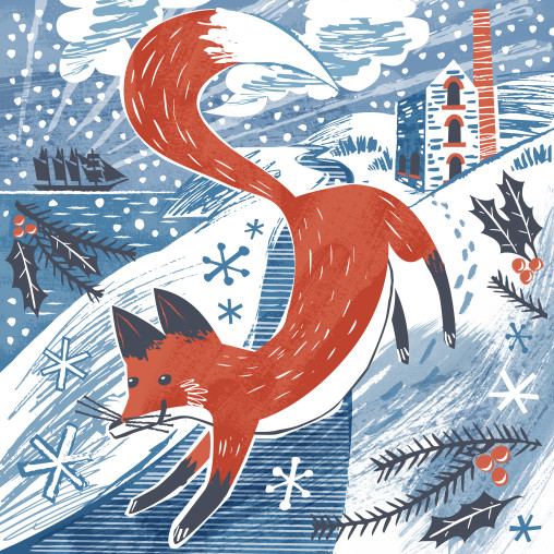 Fox in the snow Christmas Card by Matt Johnson for Seasalt Cornwall