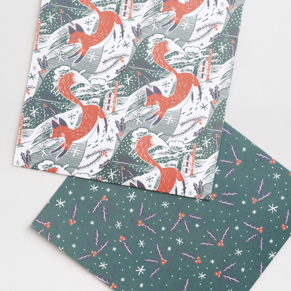 Fox in snow illustrated wrapping paper by Matt Johnson for Seasalt Cornwall