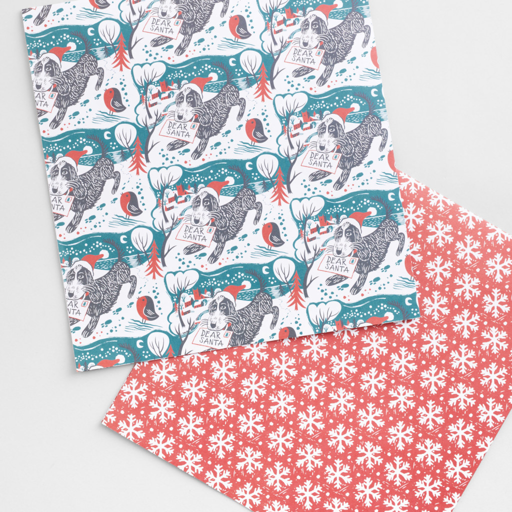 Pepe the cockapoo illustrated wrapping paper by Matt Johnson for Seasalt Cornwall