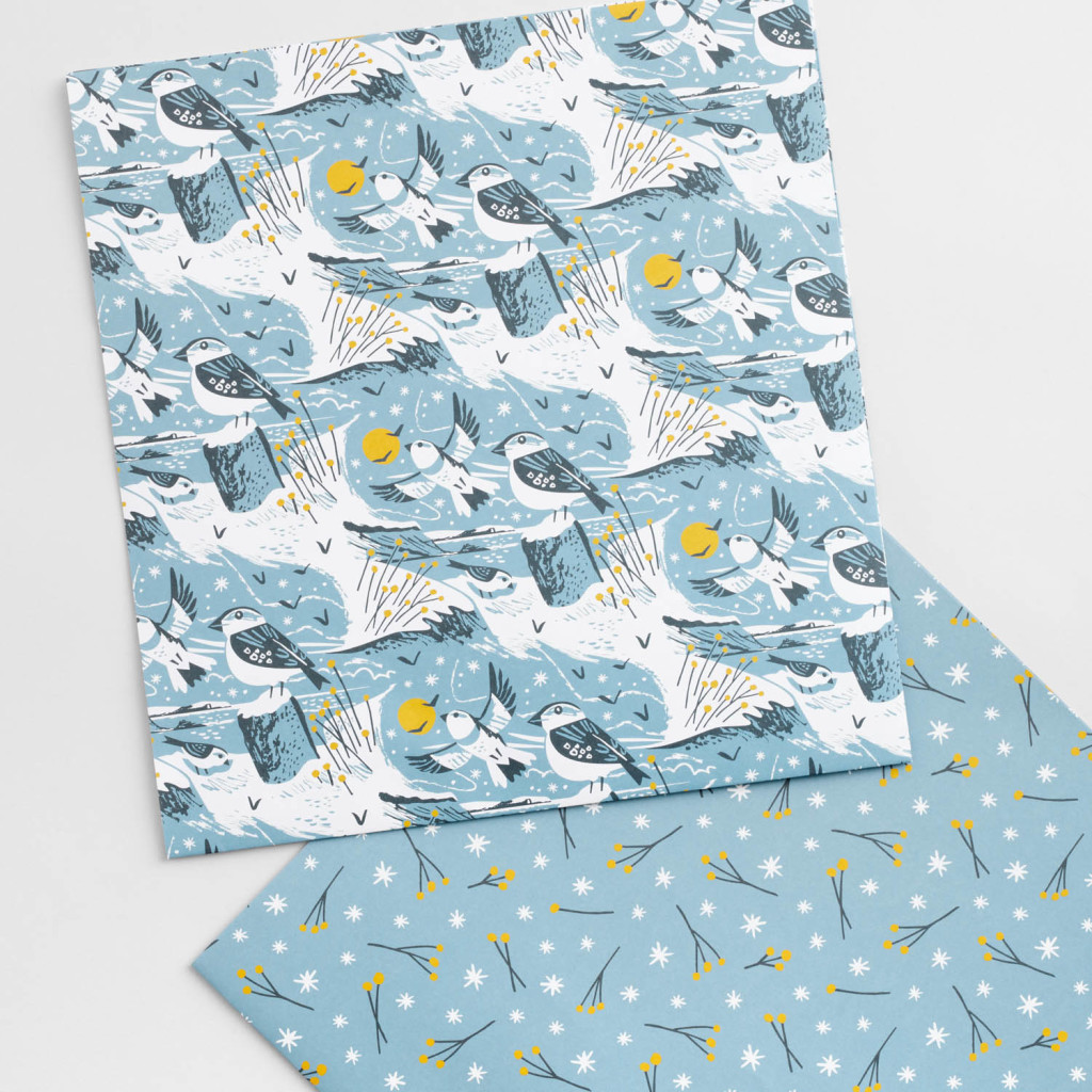 Snow buntings illustrated wrapping paper by Matt Johnson for Seasalt Cornwall
