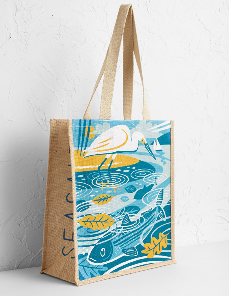 Mullet and egret jute bag by Matt Johnson for Seasalt Cornwall