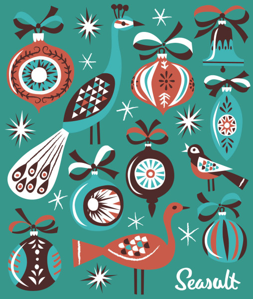 Christmas bauble birds print illustration by Matt Johnson for Seasalt Cornwall