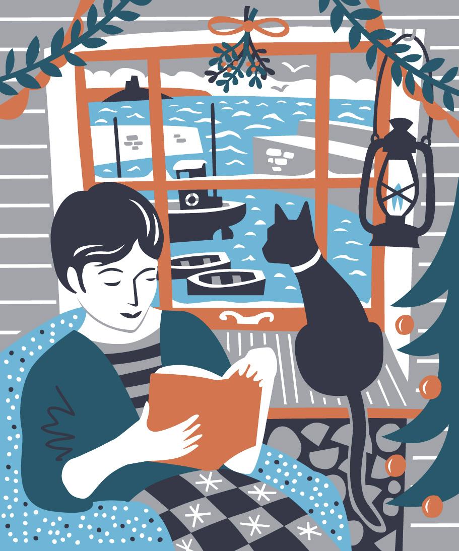 Mousehole Christmas cottage scene by Matt Johnson for Seasalt Cornwall