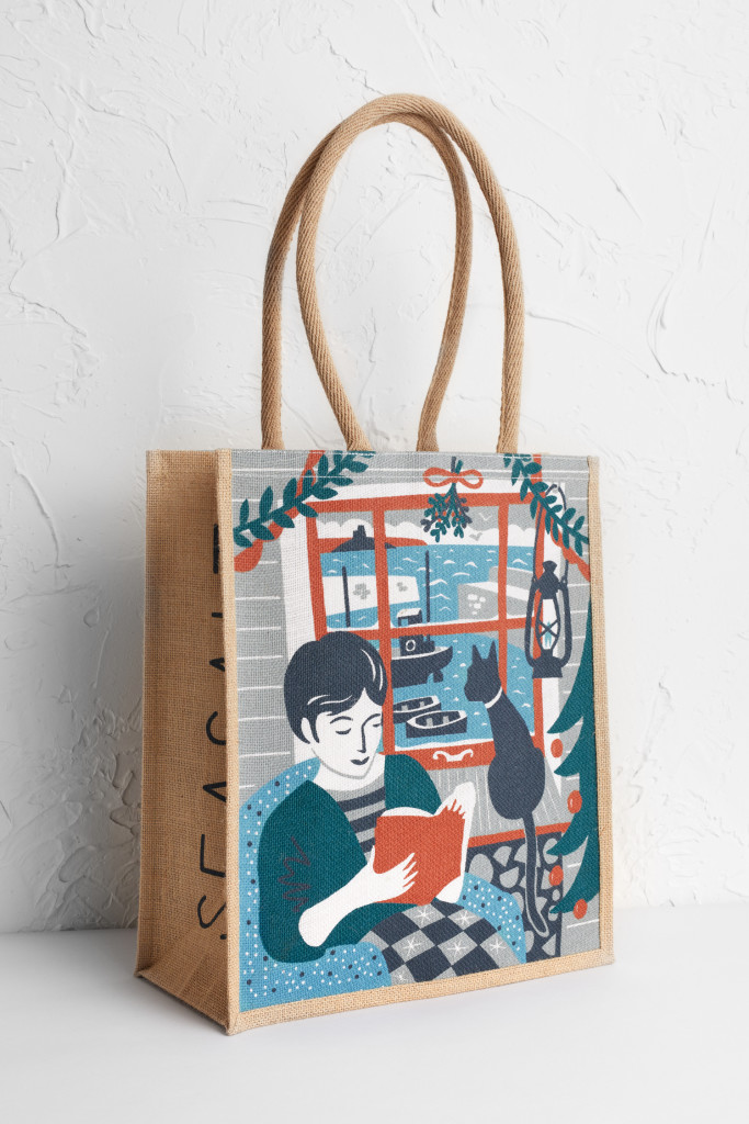 Mousehole Christmas cottage tote bag print design by Matt Johnson for Seasalt Cornwall