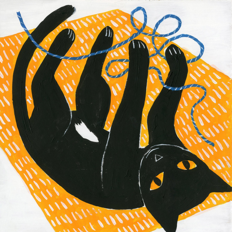 Black cat pooka playing with string by Matt Johnson