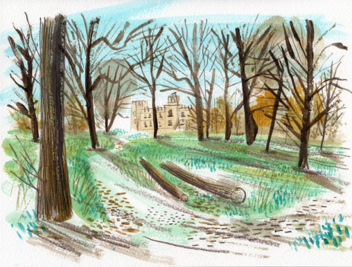 Painting sketch of Syon House and woodlabd by Matt Johnson