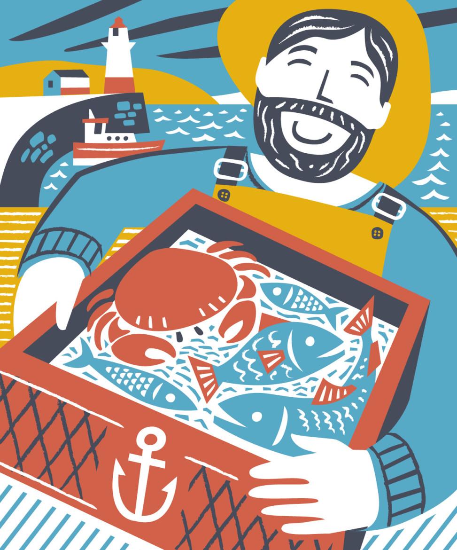 Newlyn fisherman illustration by Matt Johnson for Seasalt Cornwall