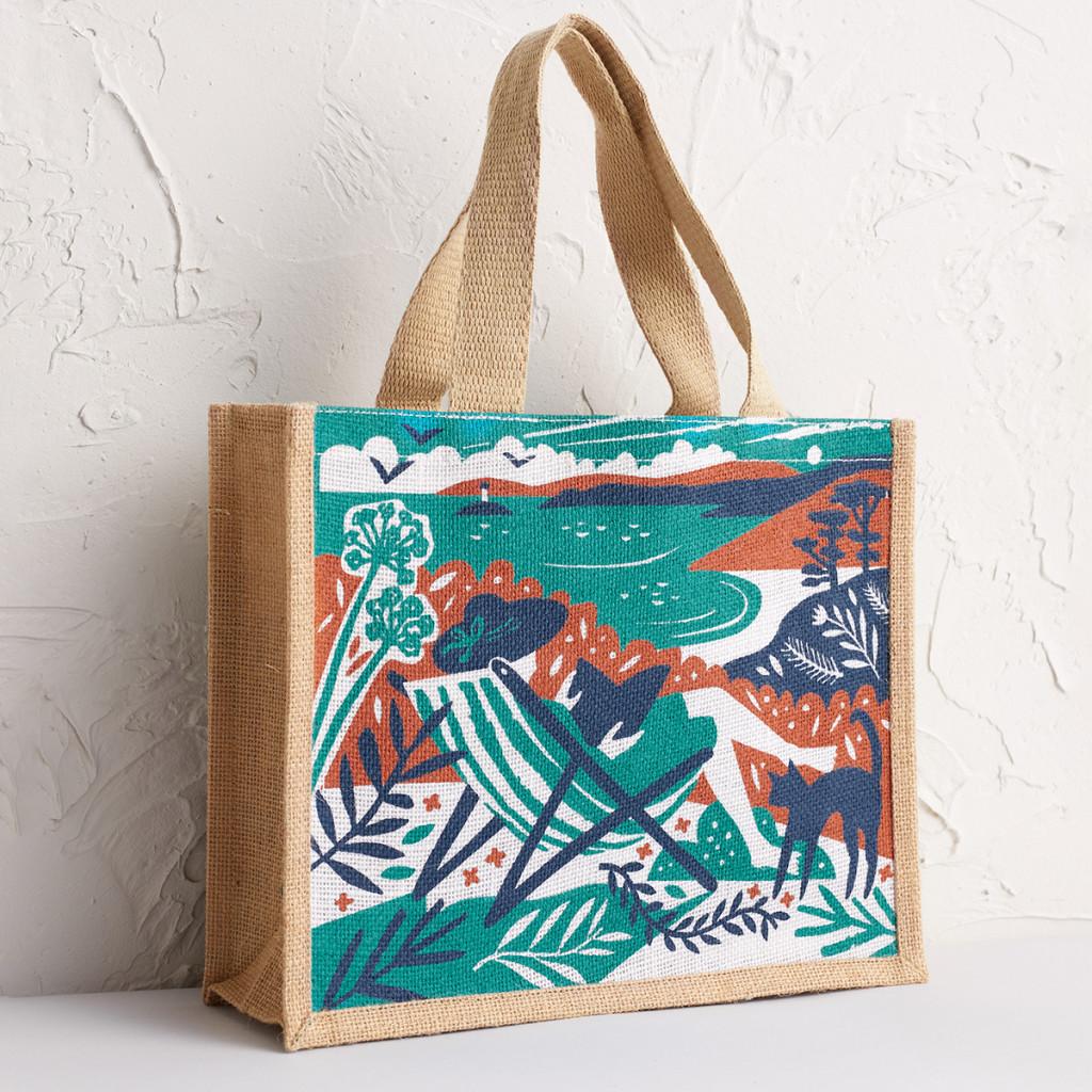 Talland deckchair print by Matt Johnson for Seasalt Cornwall jute bag