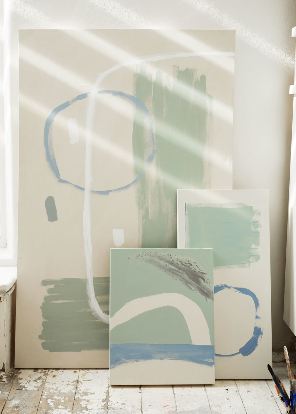 Abstract canvasses by Matt Johnson for Seasalt Porthmeor Studio photo shoot