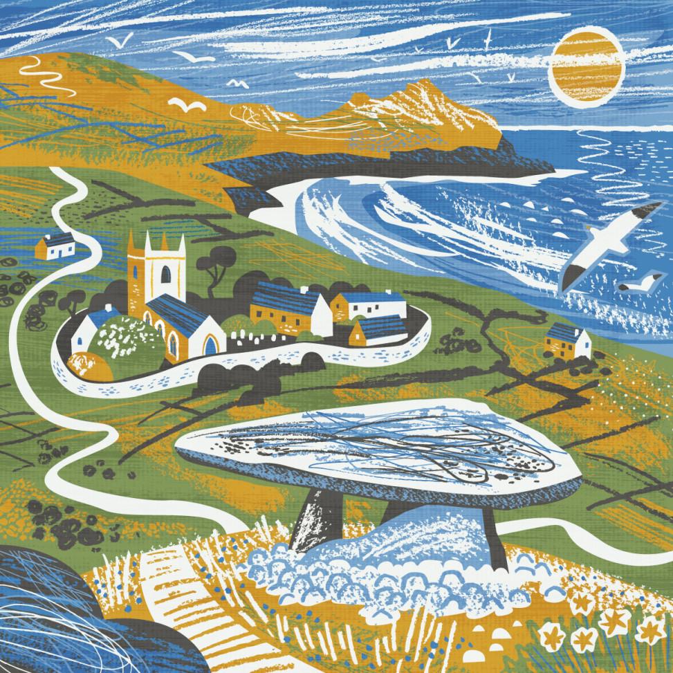 Zennor Quoit illustration by Matt Johnson for Seasalt Cornwall