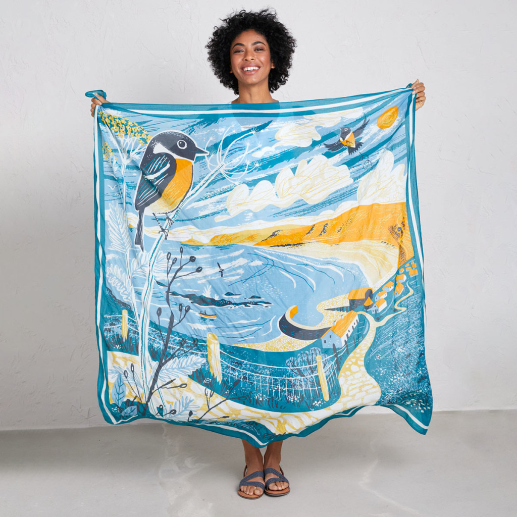 Illustration of Cornish view over Sennen Cove with Stonechats and Whitesand Bay, Gwenver Beach and Cape Cornwall in the distance. Print design by Matt Johnson for Seasalt Cornwall scenic scarf.