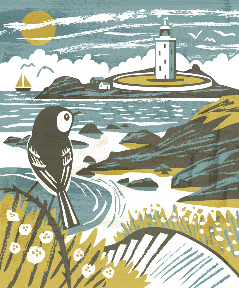 View of Godrevy Lighthouse and beach with pied wagtail. Illustration by Matt Johnson for Seasalt Cornwall tote bag.
