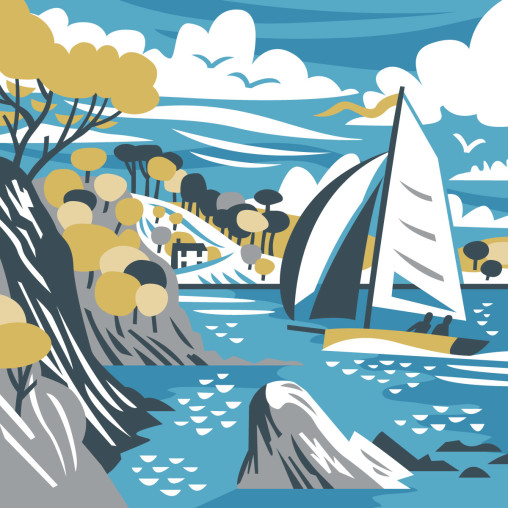 Cornish view from Polgwidden Cove (also known as Yankee Beach) on the Helford Passage, with Durgan and sailing boat in background. Illustration by Matt Johnson for Seasalt jute bag.