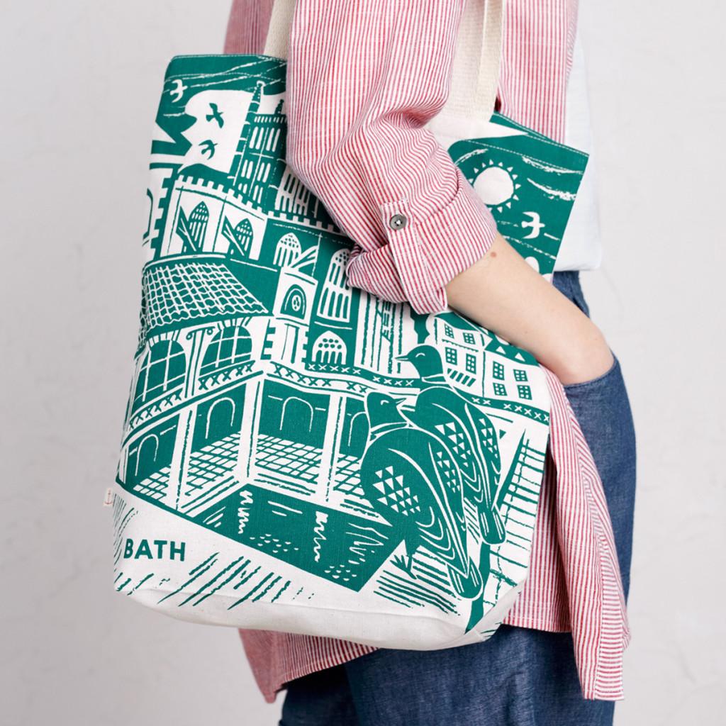 Bath Abbey and Roman baths tote bag print by Matt Johnson for Seasalt Cornwall