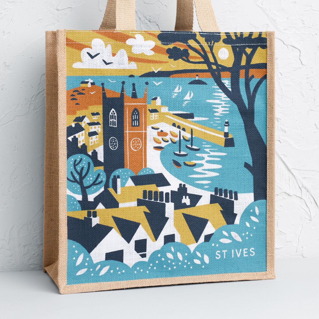 Illustration of St Ives rooftops with Harbour and Godrevy Lighthouse in the distance. Print design by Matt Johnson for a Seasalt Cornwall tote bag.
