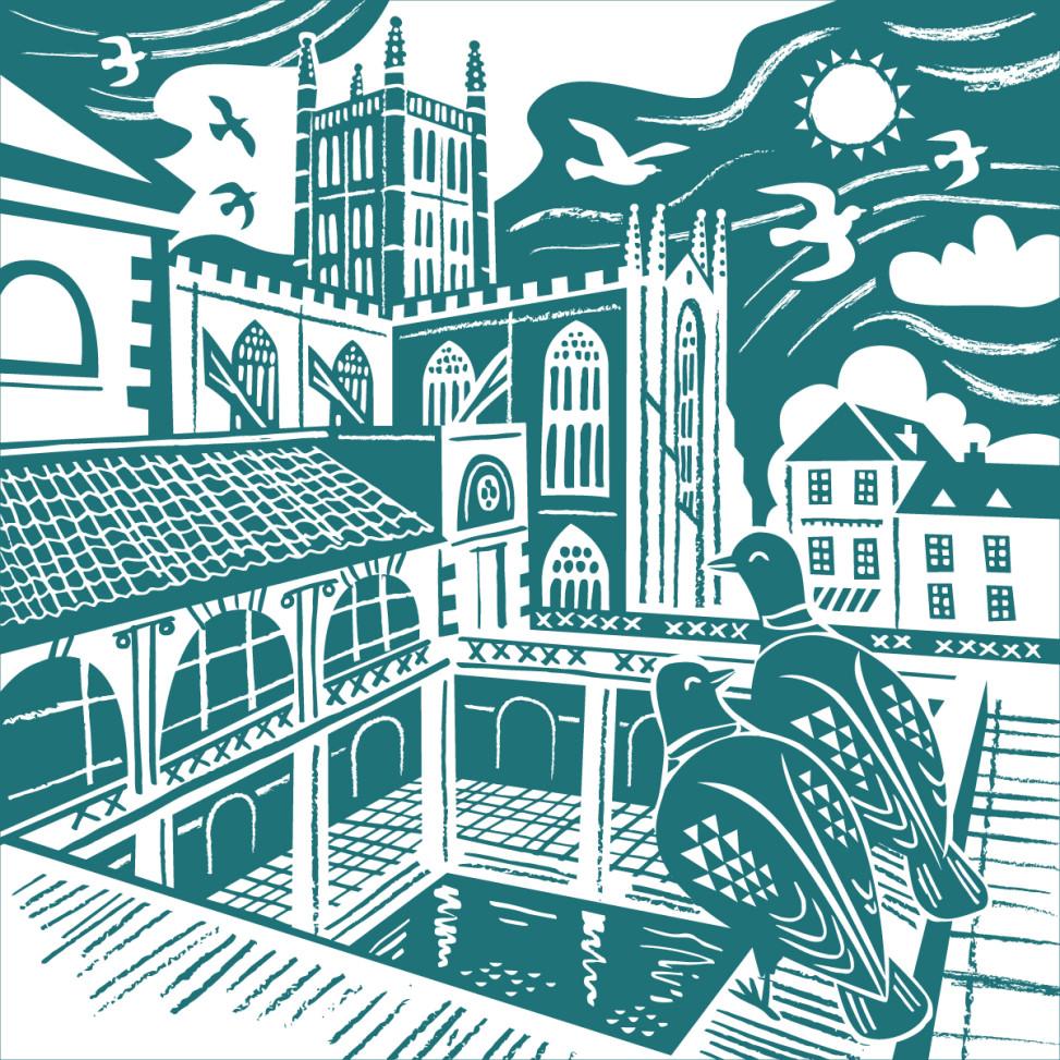 Bath Abbey and Roman baths illustration by Matt Johnson for Seasalt Cornwall