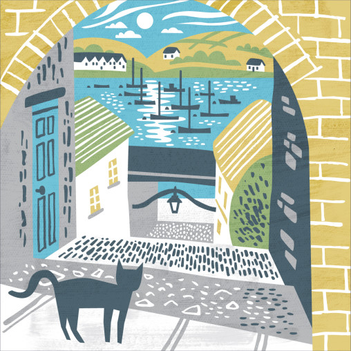 Illustration of Barrack's Ope on the Old High Street, Falmouth. Print design by Matt Johnson for a Seasalt Cornwall tote bag.