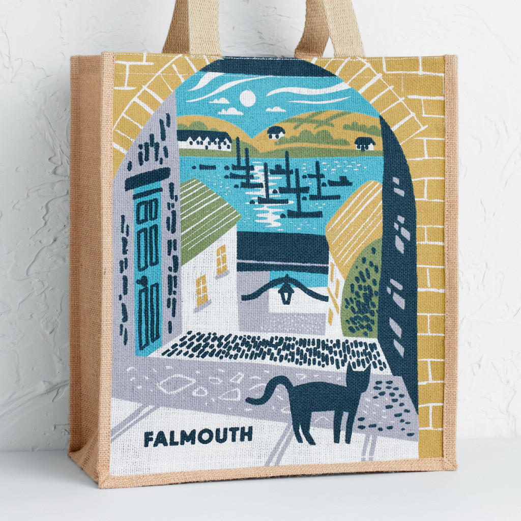 Falmouth Barrack's Ope, Old High Street illustration. Tote bag print by Matt Johnson for Seasalt Cornwall.
