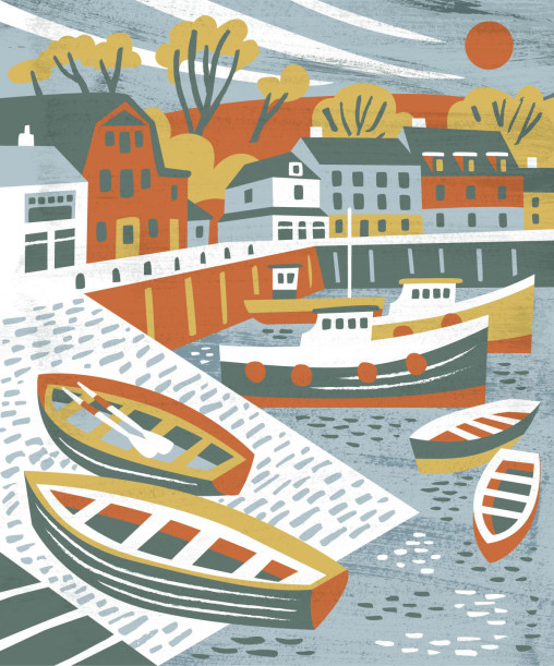 Padstow Harbour illustration by Matt Johnson for Seasalt Cornwall