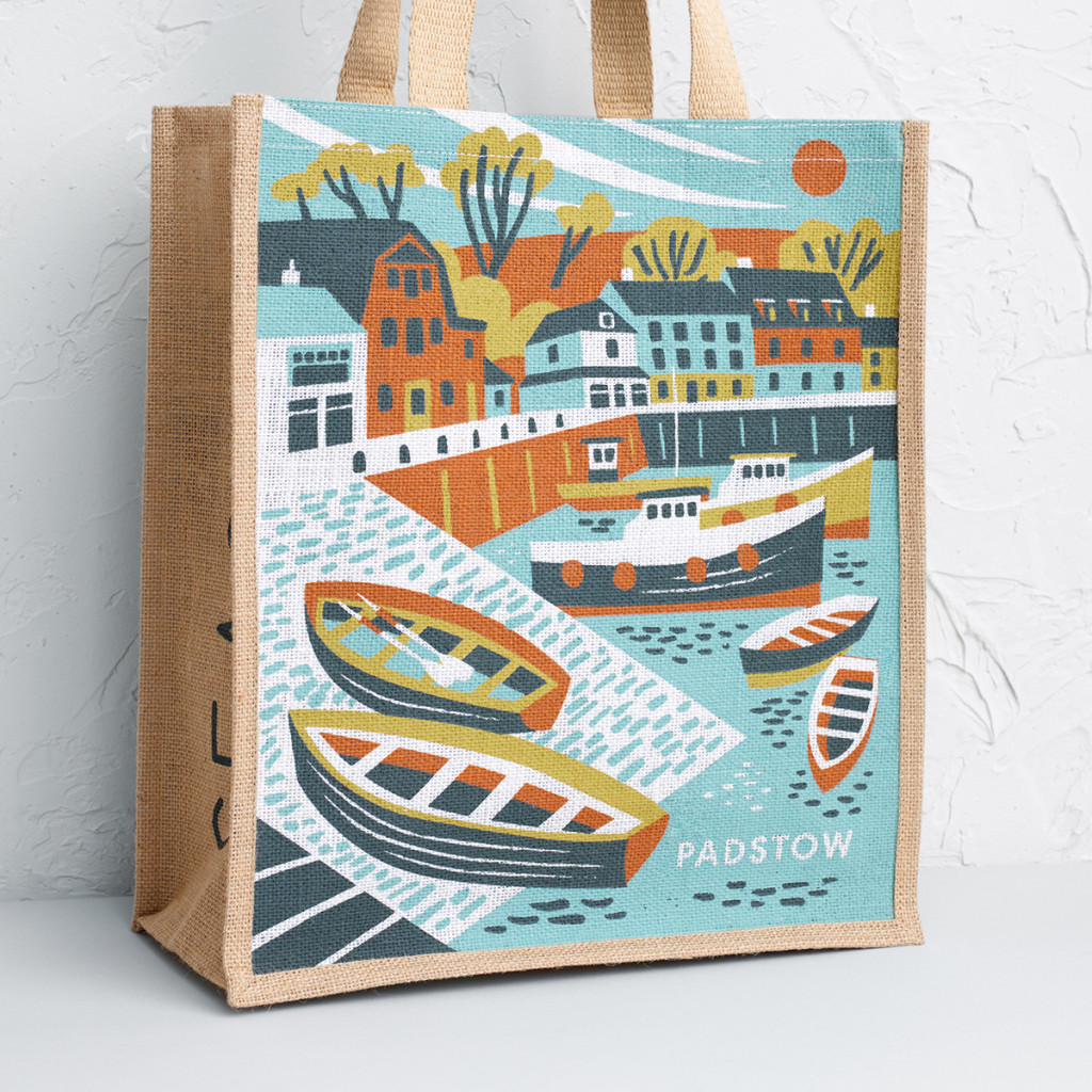 Padstow Harbour illustration by Matt Johnson for Seasalt Cornwall tote bag.