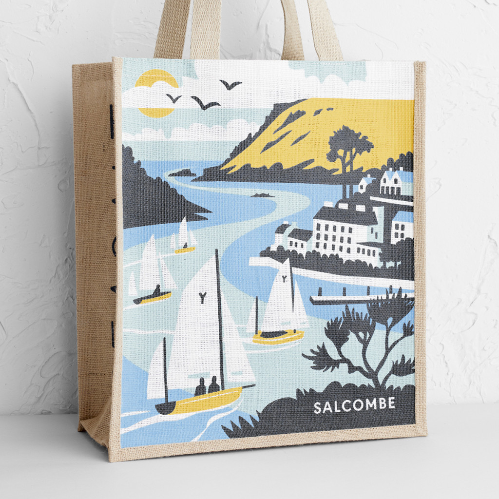 Salcombe jute bag print - illustration by Matt Johnson for Seasalt Cornwall