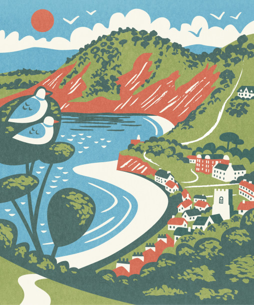 Sidmouth illustration by Matt Johnson for Seasalt Cornwall