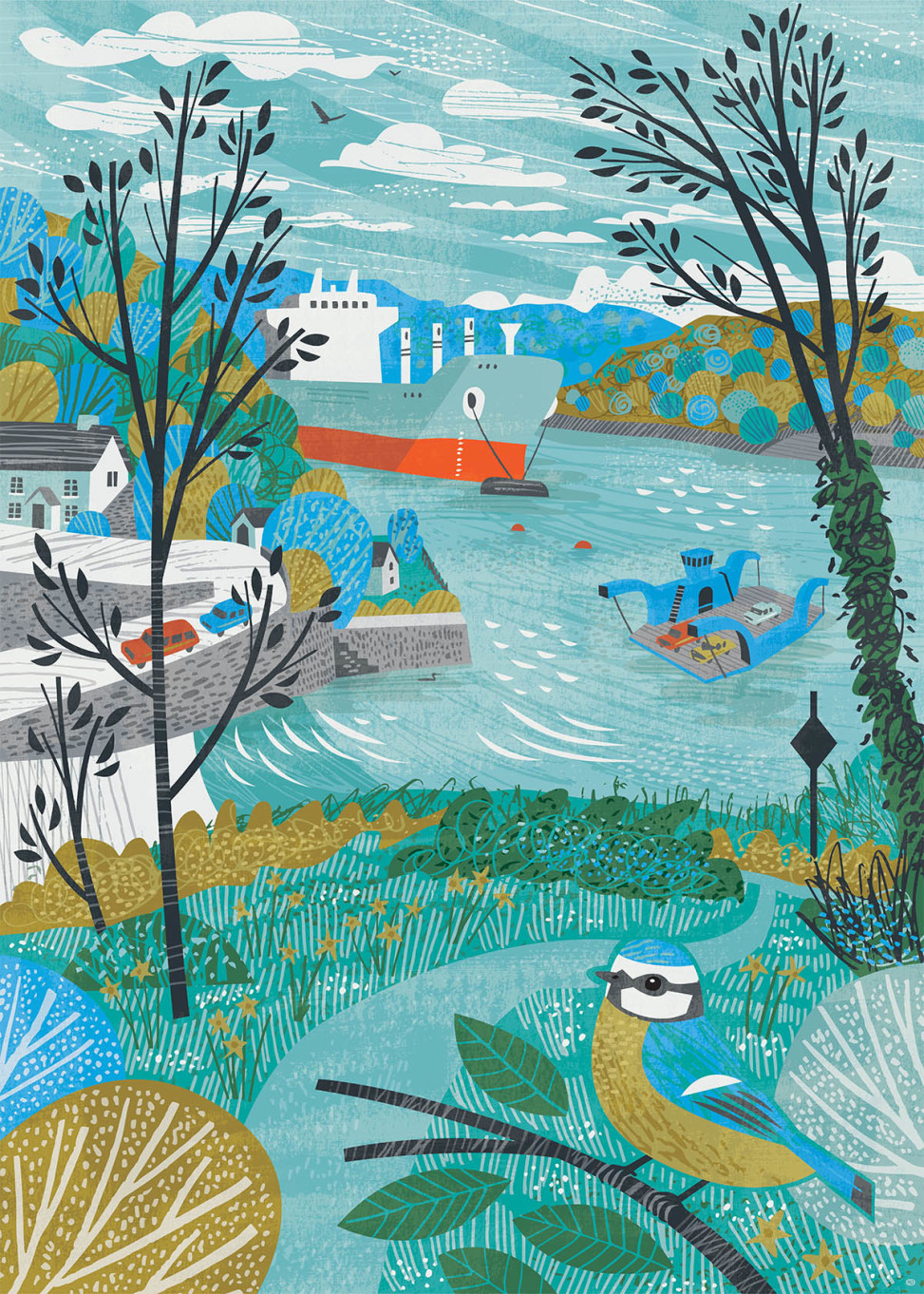 King Harry Ferry illustration with blue tit by Matt Johnson