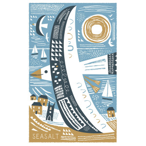 Gull Tea towel print design by Matt Johnson for Seasalt Cornwall