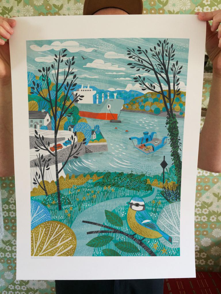 King Harry Ferry A2 Print by Matt Johnson