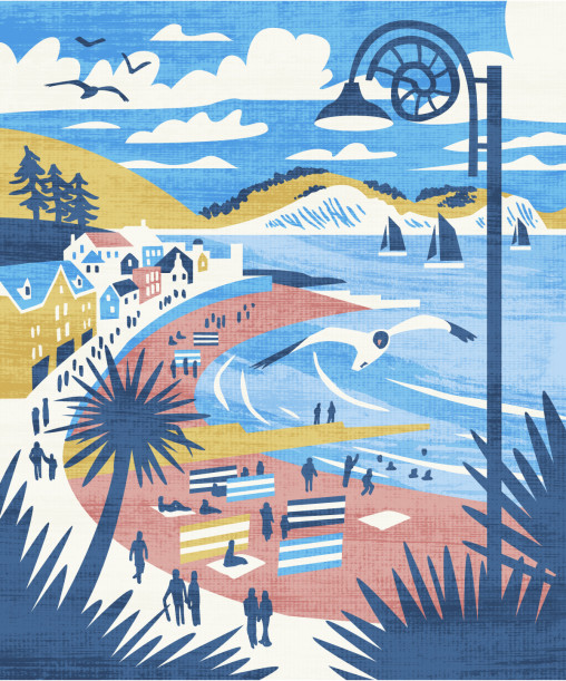 Lyme Regis travel poster style illustration by Matt Johnson