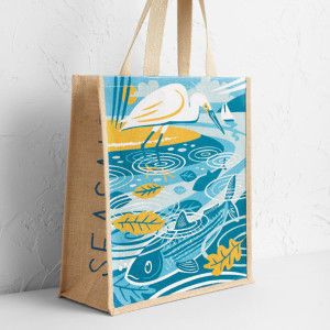 Egret and Mullet Jute bag