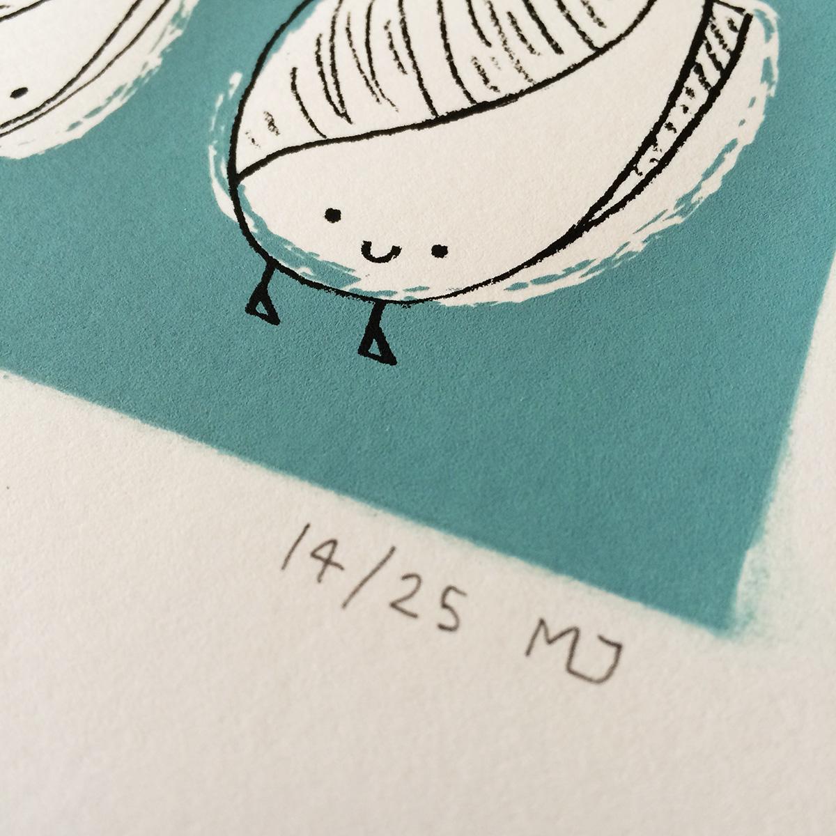 Seashell illustrated characters screen print by Matt Johnson