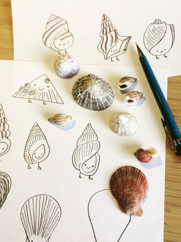 Seashell illustrated characters screen print by Matt Johnson