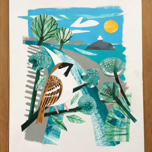 Tregarthen Sparrow St Michael's Mount Collage by Matt Johnson