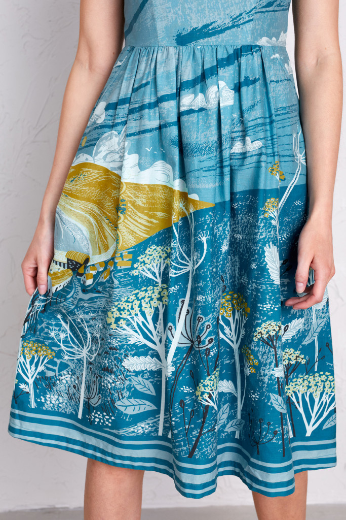 Sennen Cove Cornish landscape dress print on dress by Matt Johnson