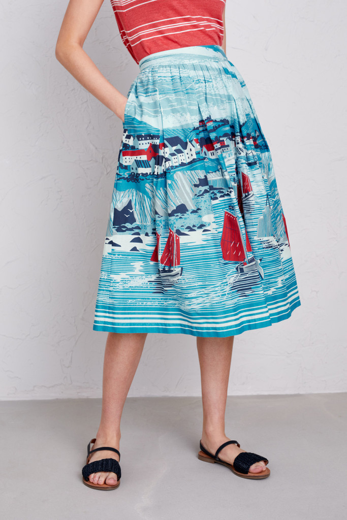 Port Isaac dress print by Matt Johnson for Seasalt Cornwall