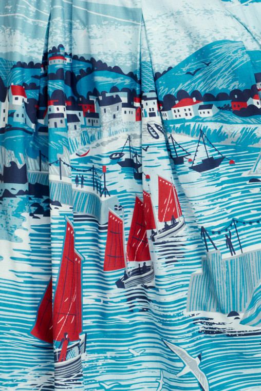 Port Isaac dress print by Matt Johnson for Seasalt Cornwall