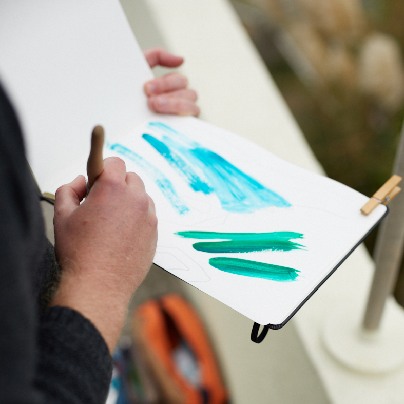 Gyllynvase Beach, Falmouth Sketch by Matt Johnson