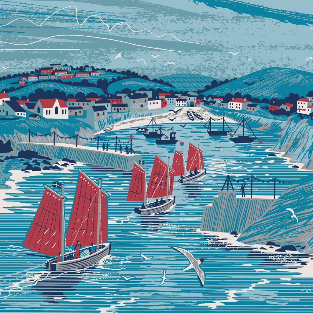 Panoramic illustration of Port Isaac, Cornwall by Matt Johnson for a Seasalt dress print