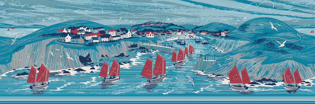 Panoramic illustration of Port Isaac, Cornwall by Matt Johnson for a Seasalt dress print