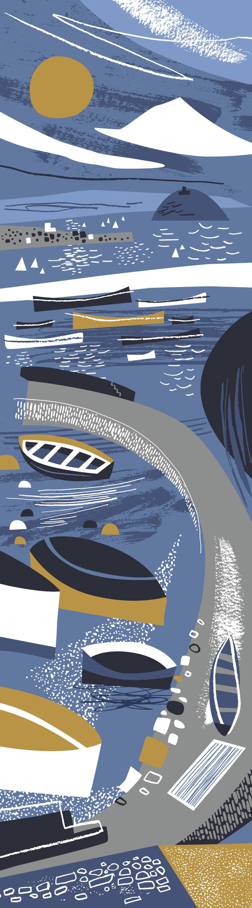 Newlyn Harbour print design by Matt Johnson