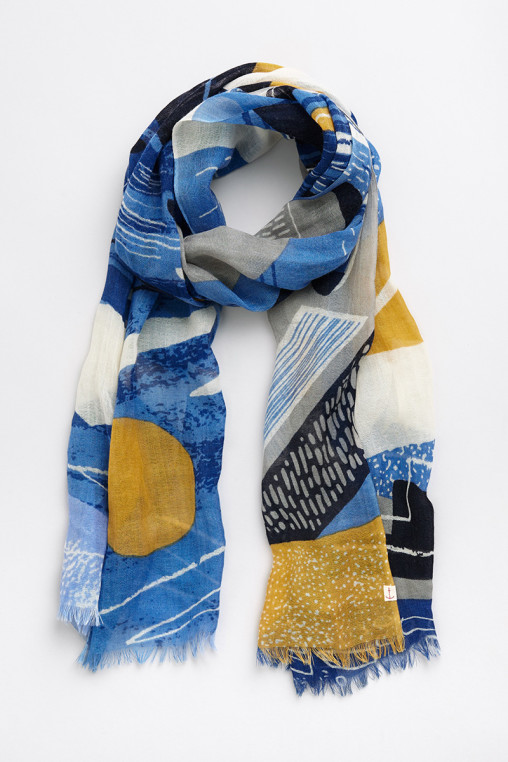 Newlyn Harbour scarf print by Matt Johnson for Seasalt Cornwall