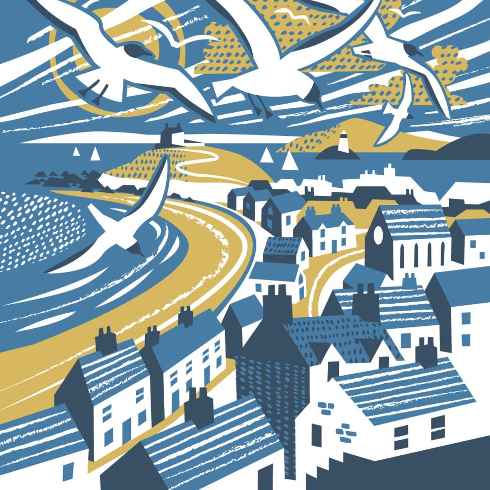 Porthmeor Beach St Ives Gulls illustration by Matt Johnson for Seasalt Cornwall