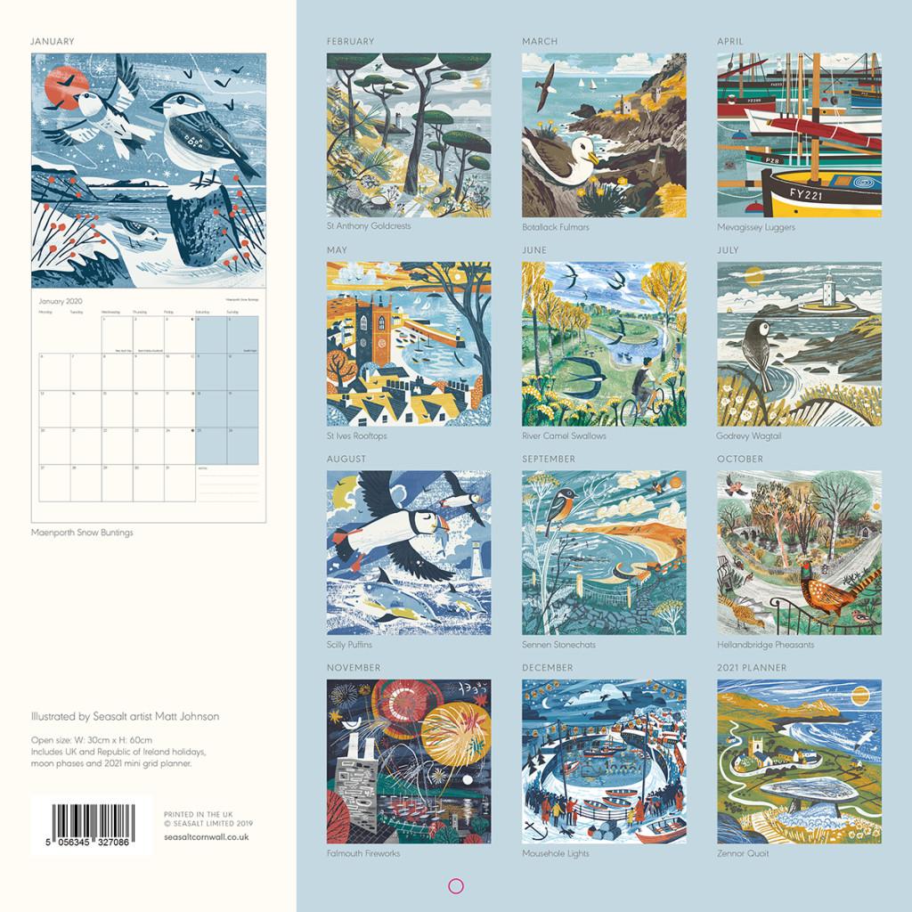 Seasalt Cornwall 2020 Calendar illustrated by Matt Johnson