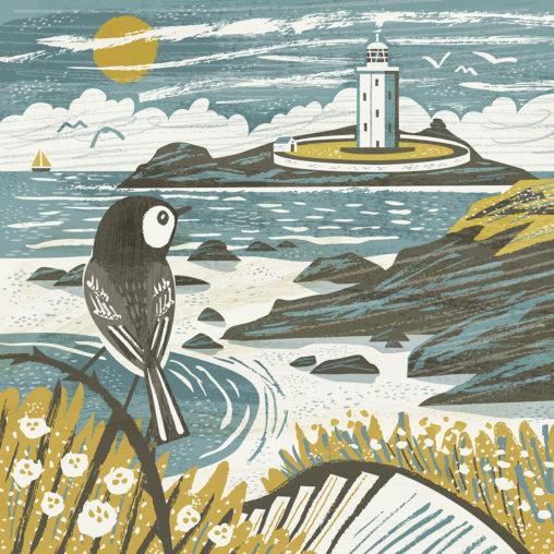 Godrevy Lighthouse wagtail illustration by Matt Johnson for Seasalt Cornwall