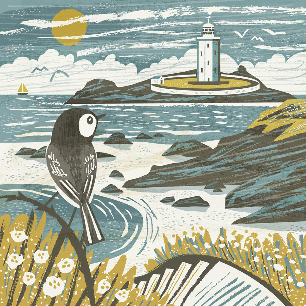 Godrevy Lighthouse wagtail illustration by Matt Johnson for Seasalt Cornwall